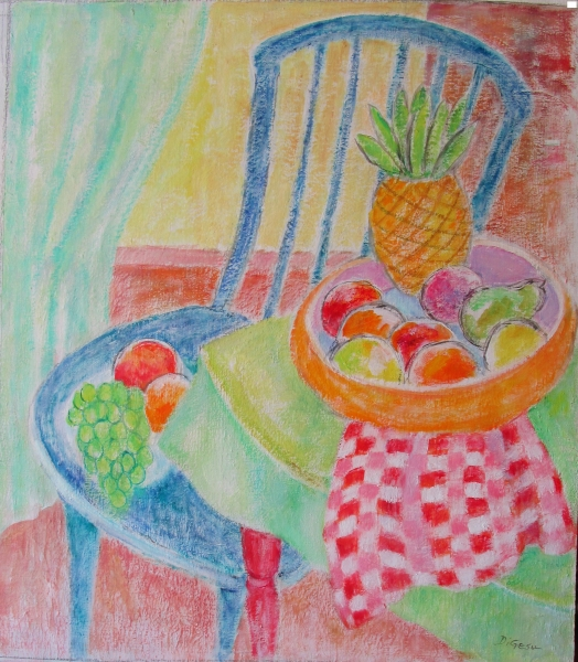 Blue chair and fruit