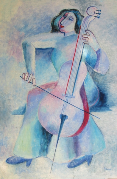 Woman Cellist in Blue