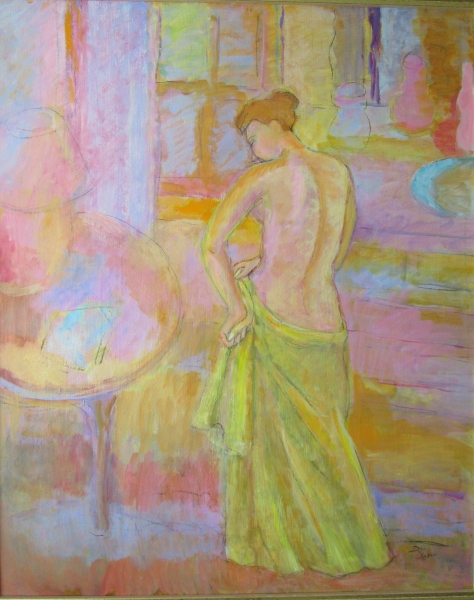 Woman adjusting yellow skirt