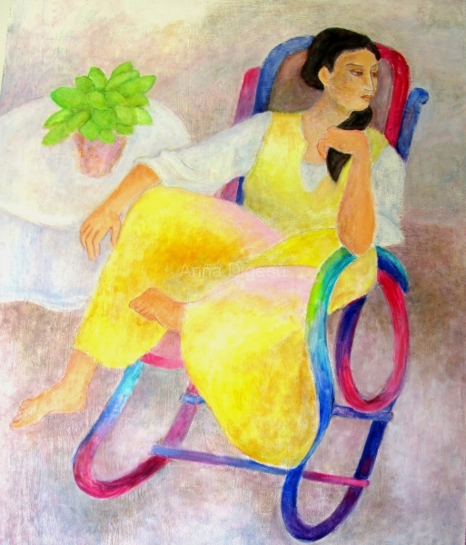 Woman in Colored Rocker
