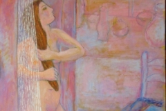 Rose colored woman in shower (series)