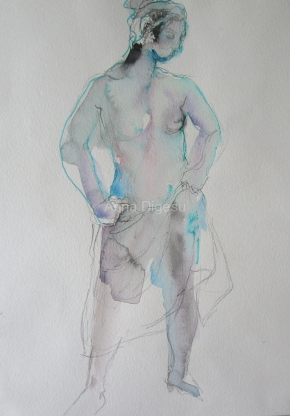 blue nude with transparant robe