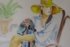 Woman in floppy hat