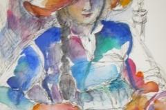 Woman in hat reading art book