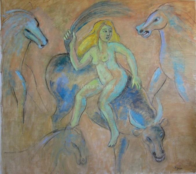 Bull, Horses-and Woman