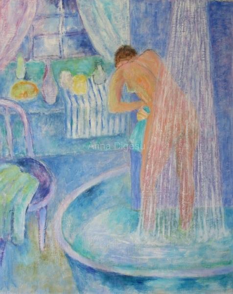 Woman in shower blue bathroom