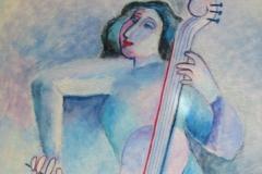 Woman Cellist in Blue