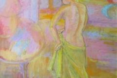Woman adjusting yellow skirt
