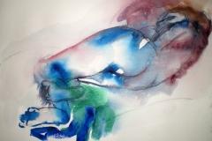 Reclining nude in blue