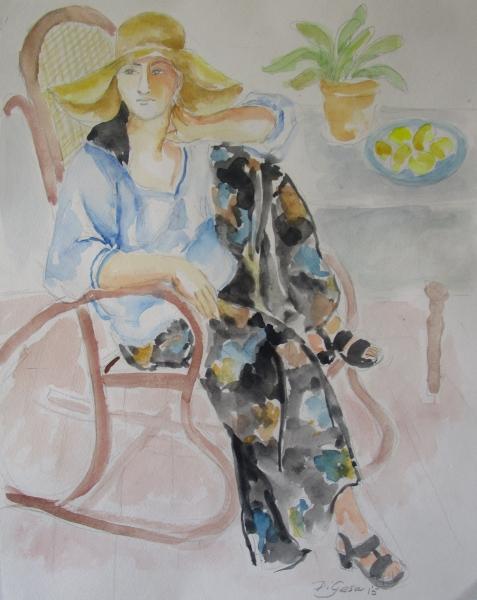 woman in hat in rocker arm on leg
